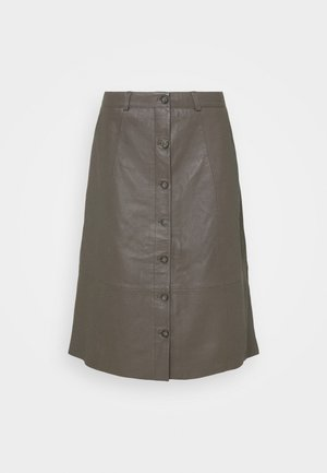 CUBENJA - Leather skirt - tarmac