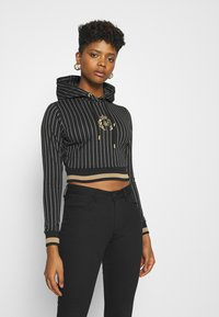 SIKSILK - BASEBALL STRIPE CROPPED HOODIE - Hoodie - black - 0