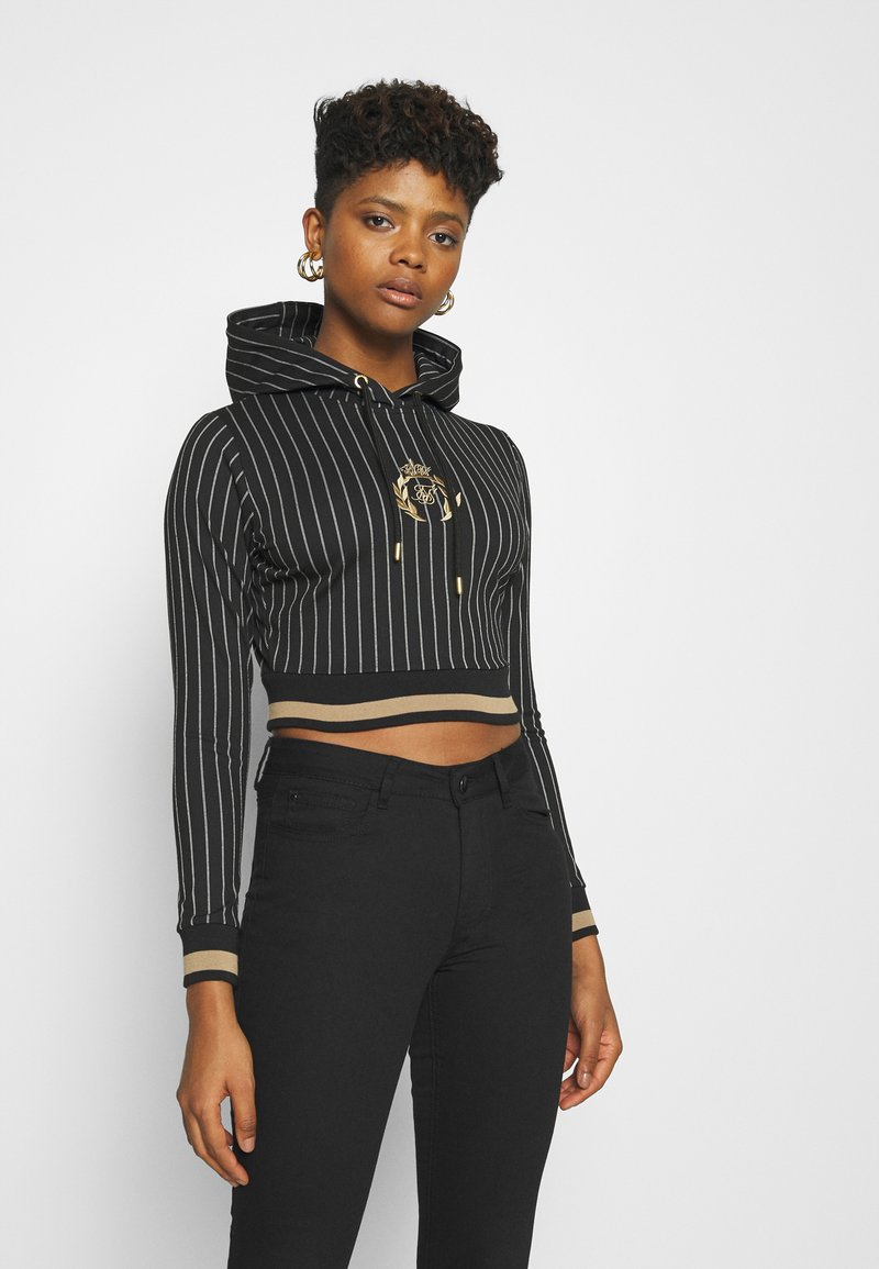 SIKSILK - BASEBALL STRIPE CROPPED HOODIE - Hoodie - black