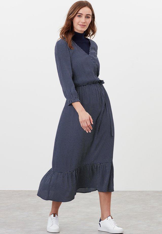 Korte jurk - marineblau tupfen