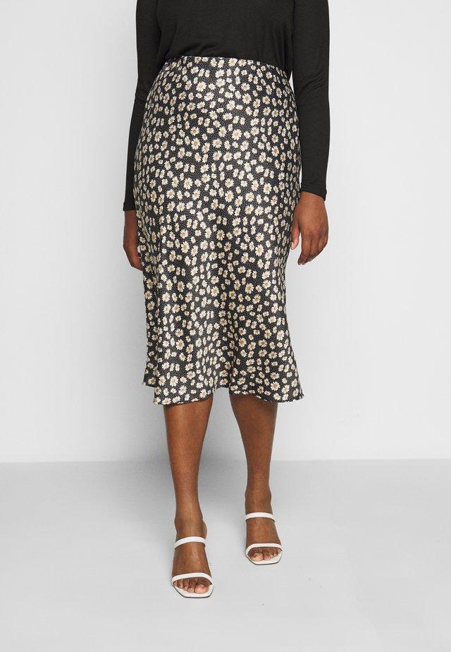 FLORAL PRINT SKIRT - Pencil skirt - black/white