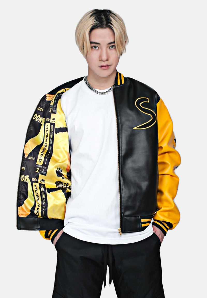 SEXFORSAINTS - ANTI-HERO VARSITY - Faux leather jacket - metallic black