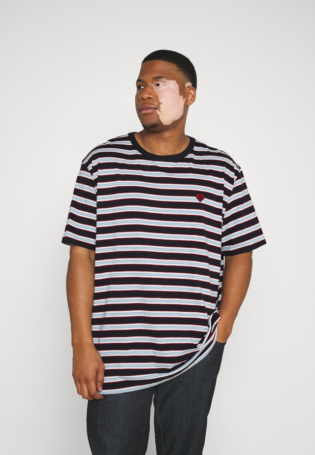 STRIPED TEE - Printtipaita - dark navy