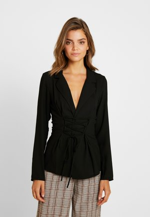 TIE UP FRONT LONGLINE - Blazer - black