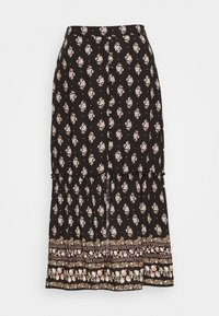 Hollister Co. - BUTTON FRONT TIER MIDI - Maxi skirt - black - 0