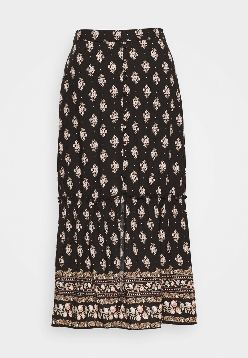 Hollister Co. - BUTTON FRONT TIER MIDI - Maxi skirt - black