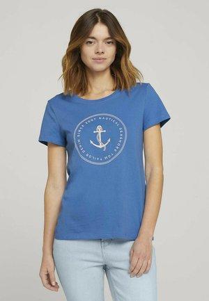 ORGANIC BASIC PRINT TEE - Print T-shirt - mid blue