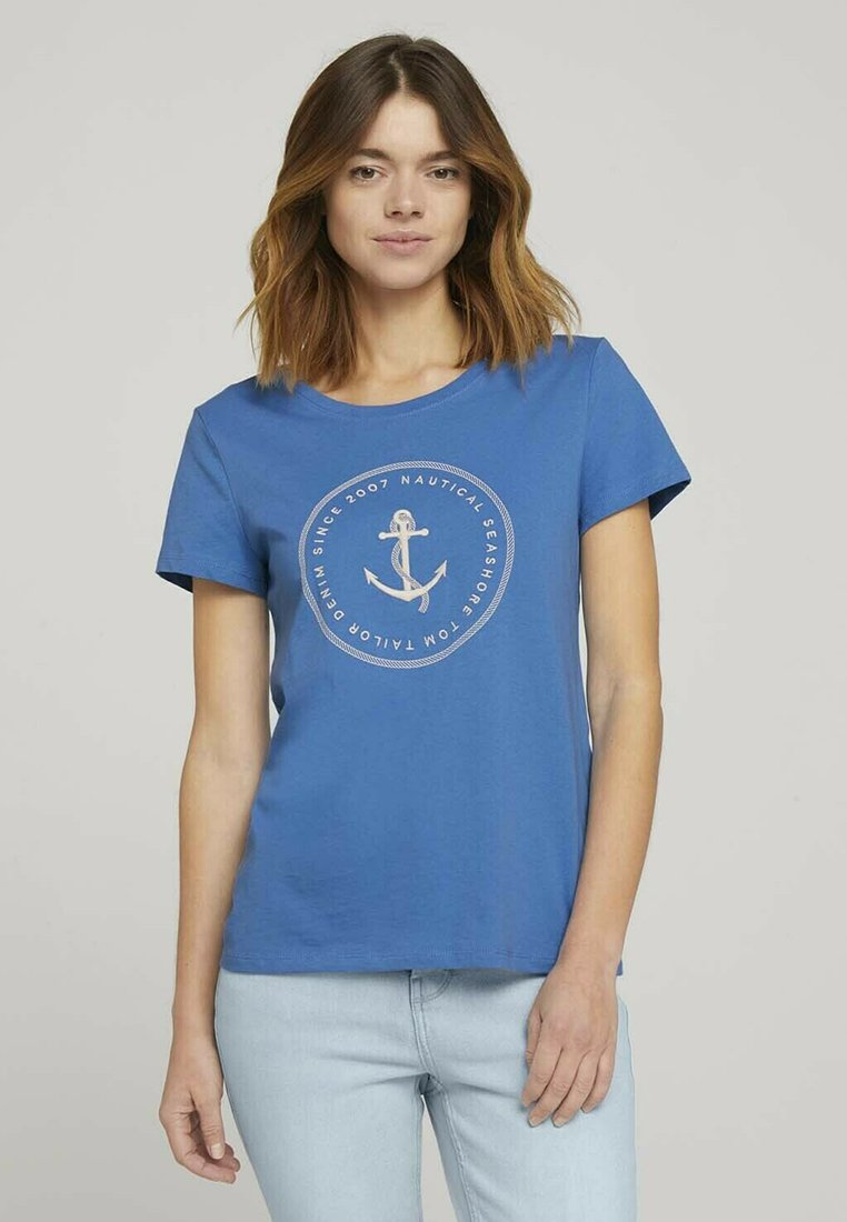 TOM TAILOR DENIM - ORGANIC BASIC PRINT TEE - Print T-shirt - mid blue