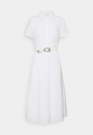 DAISY EYELET DRESS BELT - Shirt dress - white