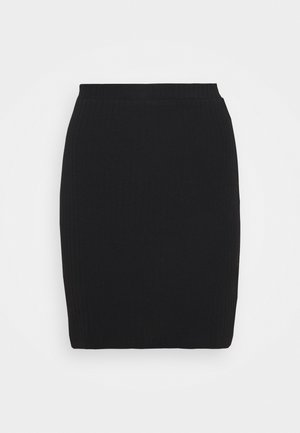 Basic mini ribbed skirt - Pencil skirt - black