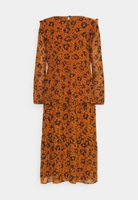 TOM TAILOR DENIM - PRINTED DRESS WITH RUFFLES - Day dress - brown - 1