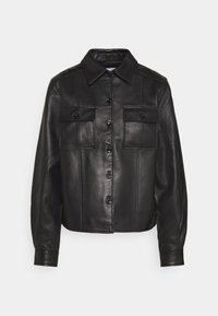 Proenza Schouler White Label - LIGHTWEIGHT COLLARED JACKET - Kožená bunda - black - 0