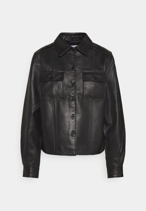 LIGHTWEIGHT COLLARED JACKET - Kožená bunda - black