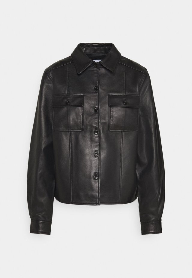 LIGHTWEIGHT COLLARED JACKET - Leren jas - black