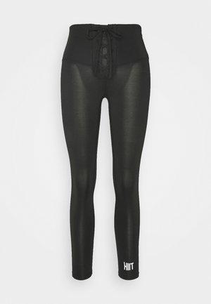 LACED FRONT LEGGING - Leggings - black