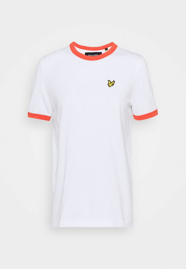 RINGER  - T-shirt z nadrukiem - white/orange