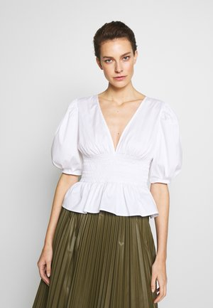 VNECK BLOUSE SMOCKING AT WAIST - Blůza - white