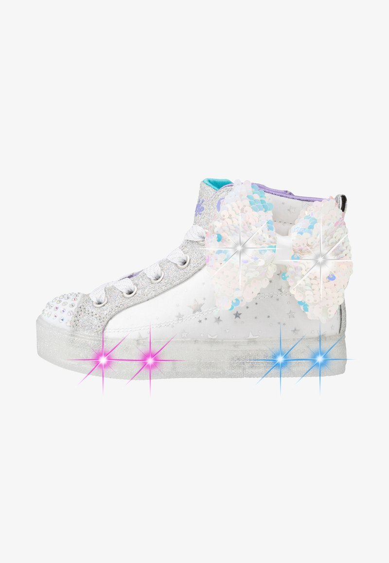 Skechers - SHUFFLE BRIGHTS - High-top trainers - white/silver/lavender