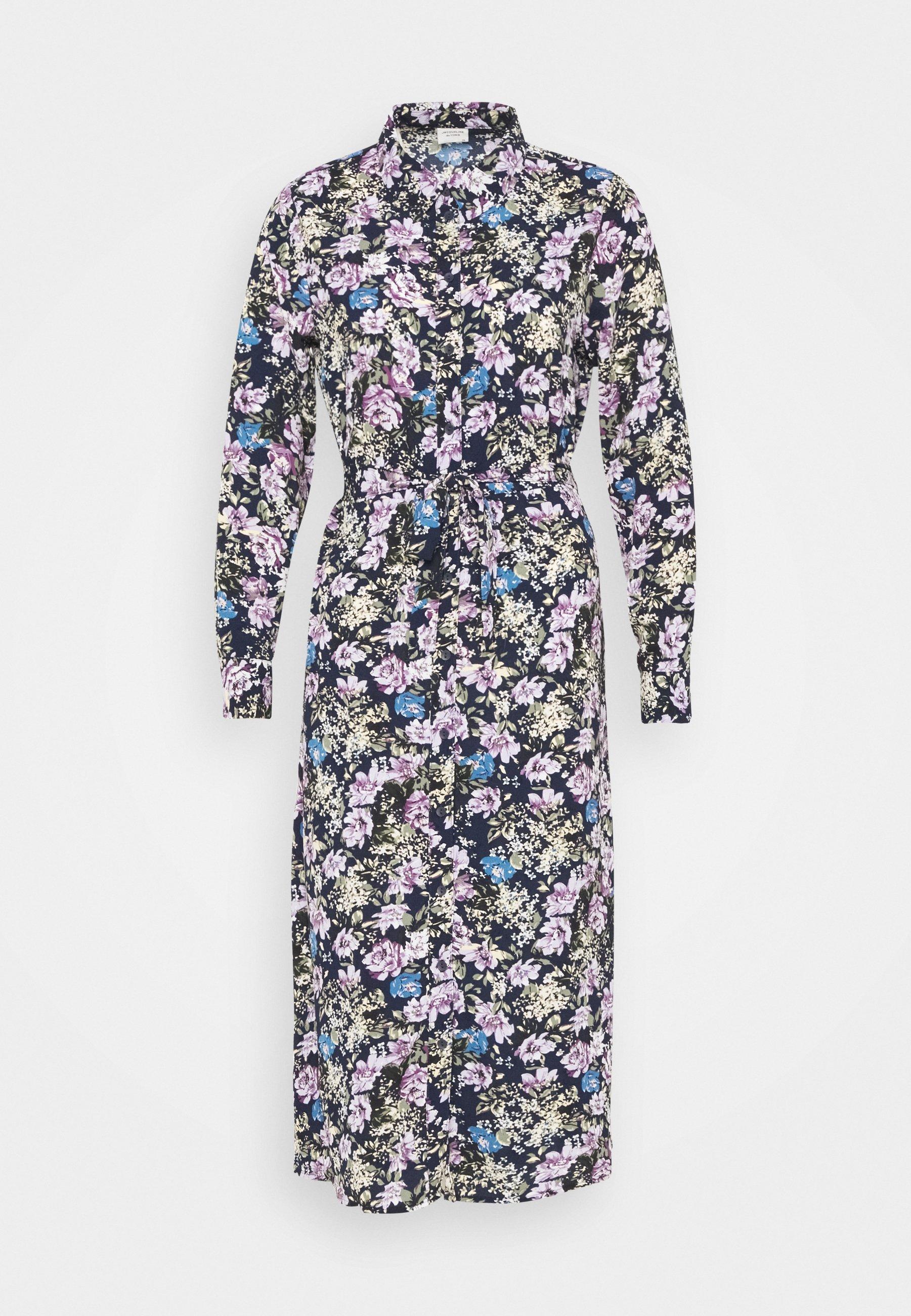 Women JDYPIPER ABOVE CALF DRESS - Shirt dress - black iris/purple/ parisian blue