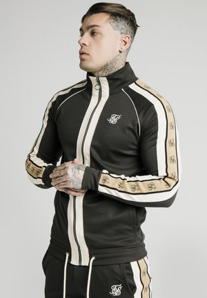 TAPE FUNNEL ZIP THROUGH HOODIE - Chaqueta de punto - black/off-white