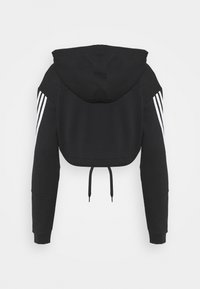 adidas Performance - CROP HOODIE  - Hoodie - black/white - 1