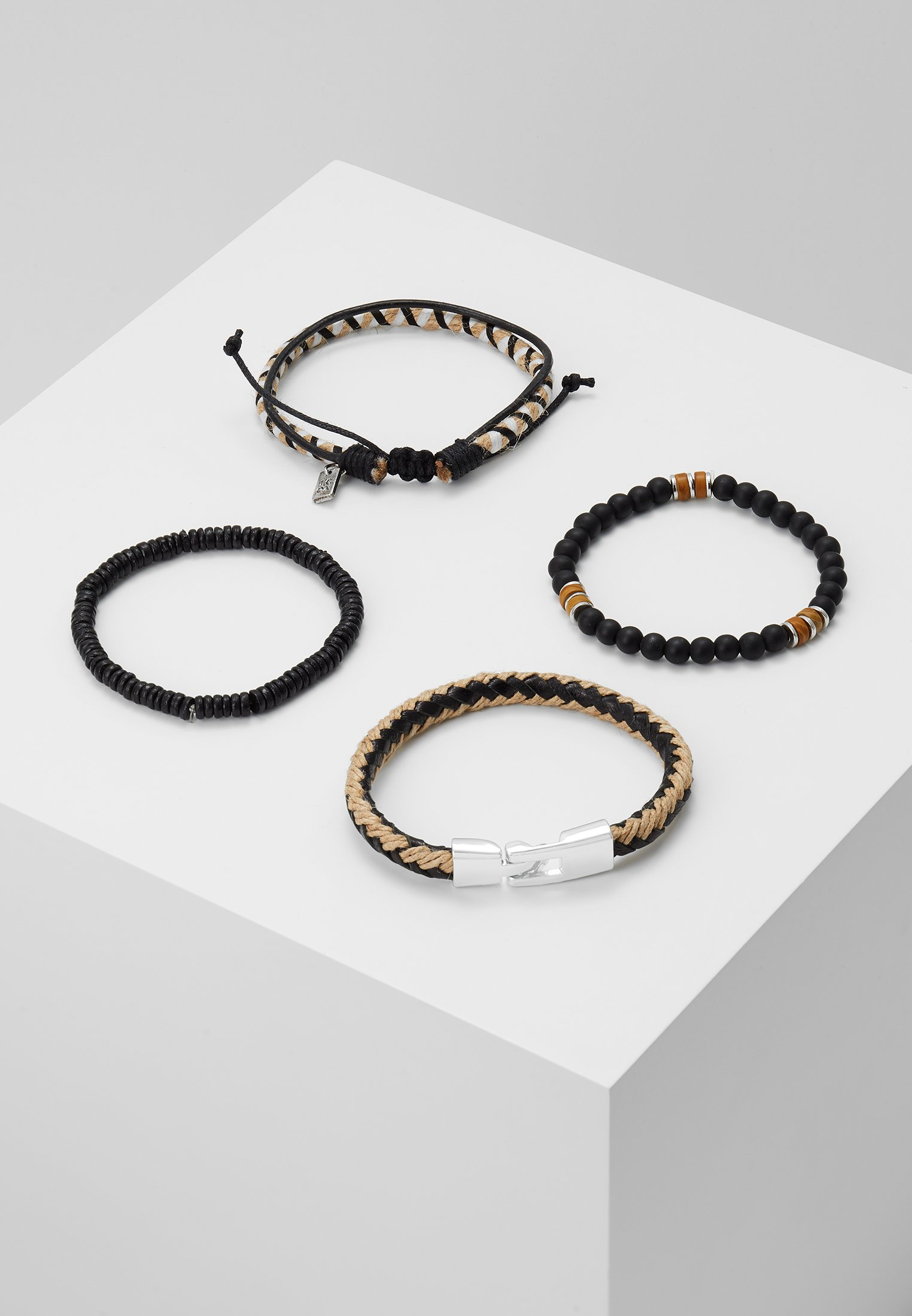 Icon Brand EDWARDS COMBO 4PACK - Armbånd - beige/black/beige 9sIa2lsIhdbHOGV