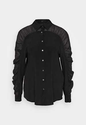 BLOUSE GATHERING - Button-down blouse - black