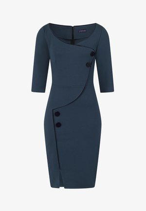 CHELSEA DRESS WITH BUTTONS - Day dress - teal and navy