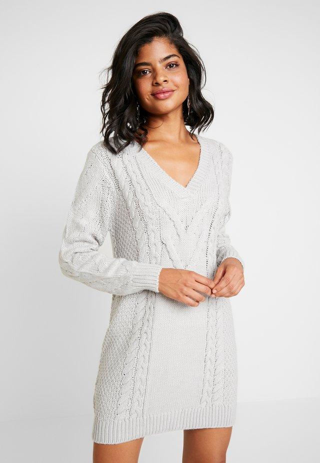 CABLE DRESS - Jumper dress - light grey melage