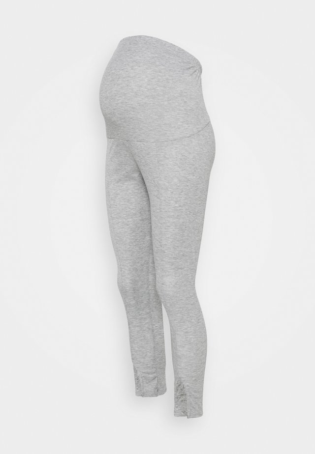 SPLIT FRONT - Leggings - grey marl