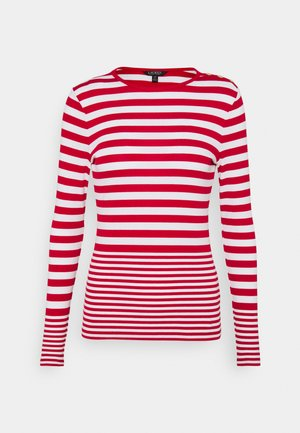 Long sleeved top - white/lipstick red