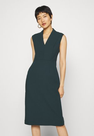 HIGH COLLAR DRESS - Shift dress - bottle green