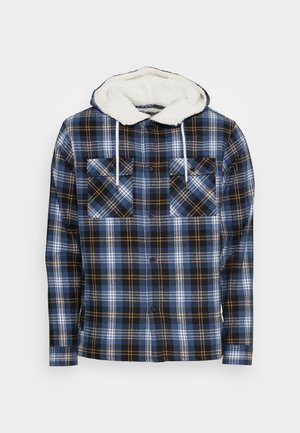 LINED HOODY CHECK OVER - Shirt - navy