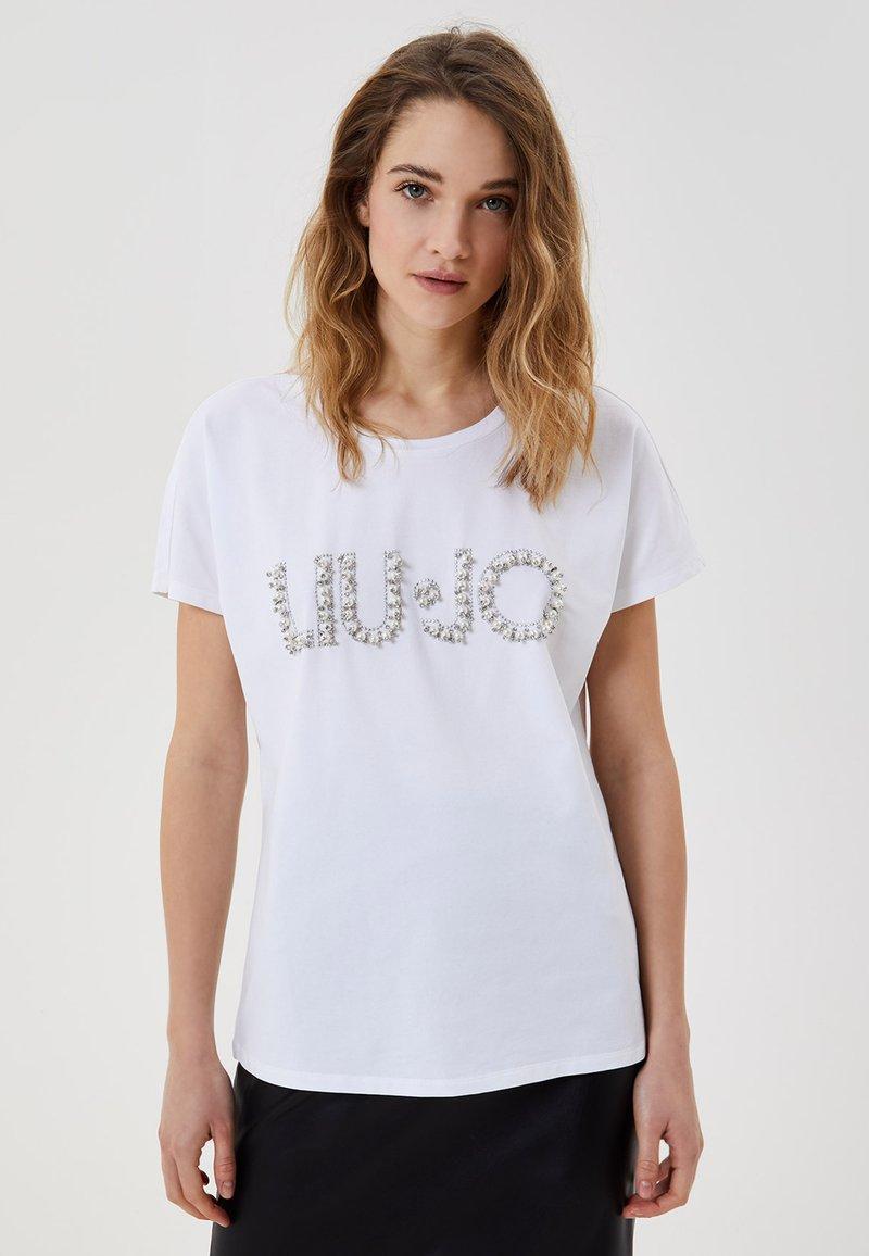 LIU JO - WITH JEWEL LOGO - T-shirt imprimé - white