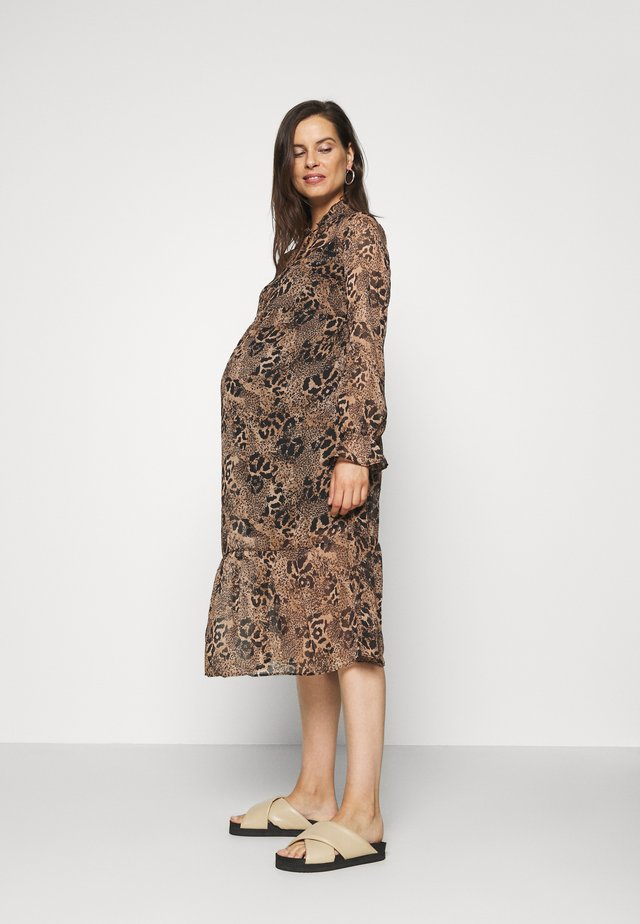 TIE NECK PRINT DRESS BELINDA - Kjole - brown