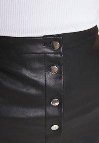 Vila - VIPEN BUTTON COATED SKIRT - Mini skirt - black - 4