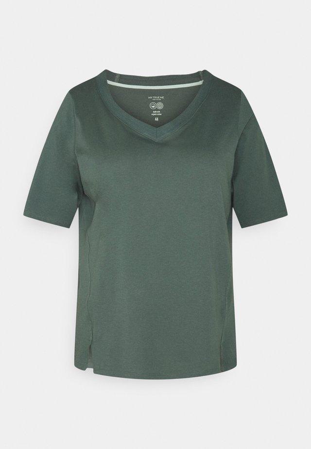 V-NECK - Jednoduché triko - washed jasper green