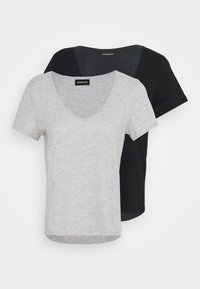 Even&Odd - 2 PACK - T-shirt basic - black/light grey melange - 5