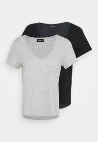 2 PACK - Basic T-shirt - black/light grey melange