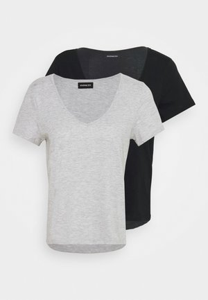 2 PACK - Basic T-shirt - black/light grey melange