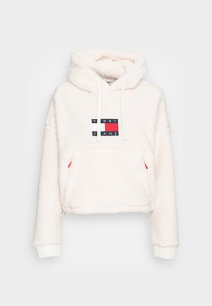 CROPPED PLUSH HOODIE - Sweatshirt - ivory