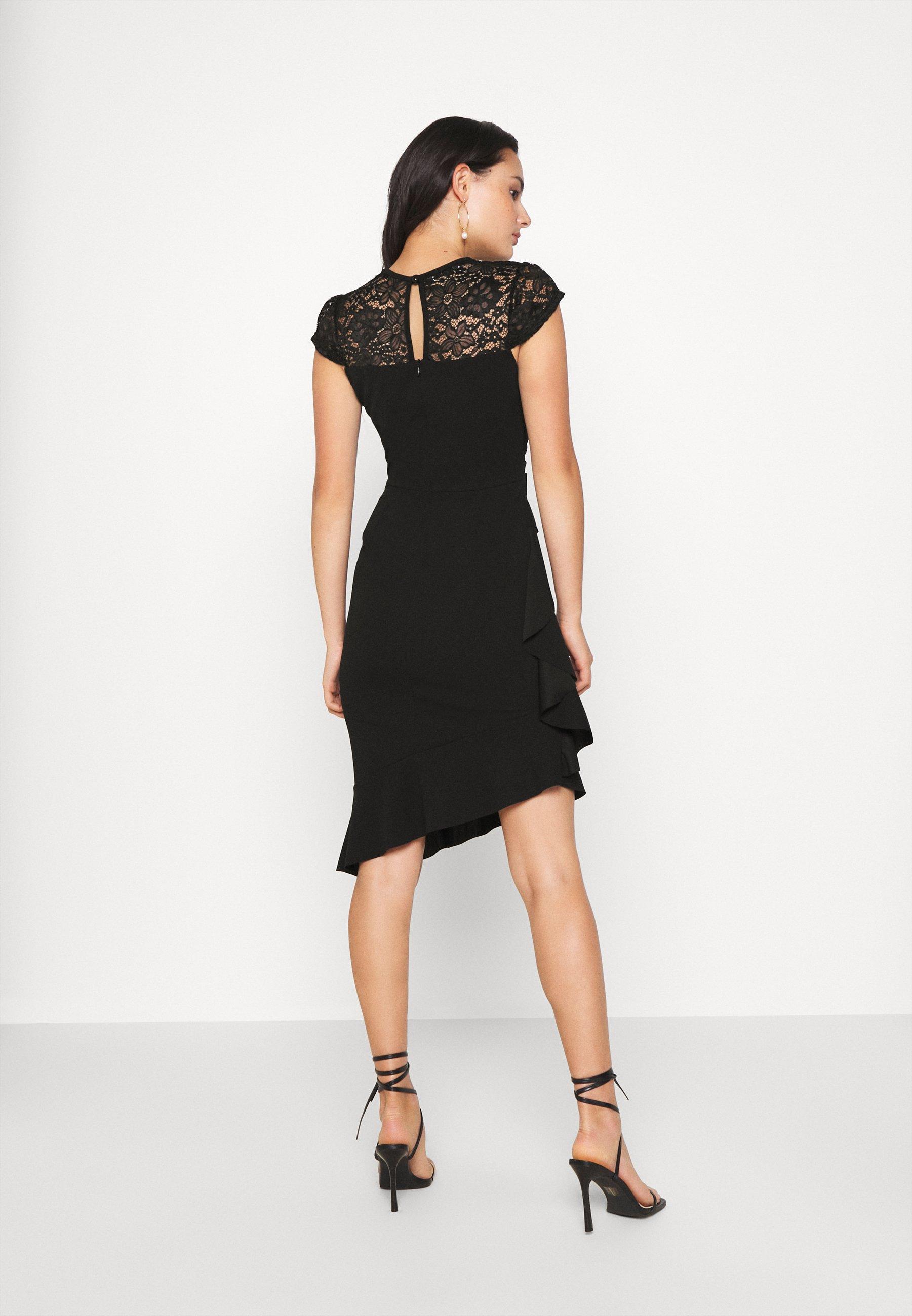 WAL G. SIDE FRILL DETAIL MIDI DRESS Cocktailkleid/festliches Kleid black/schwarz