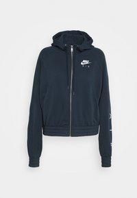 Zip-up hoodie - deep ocean/white
