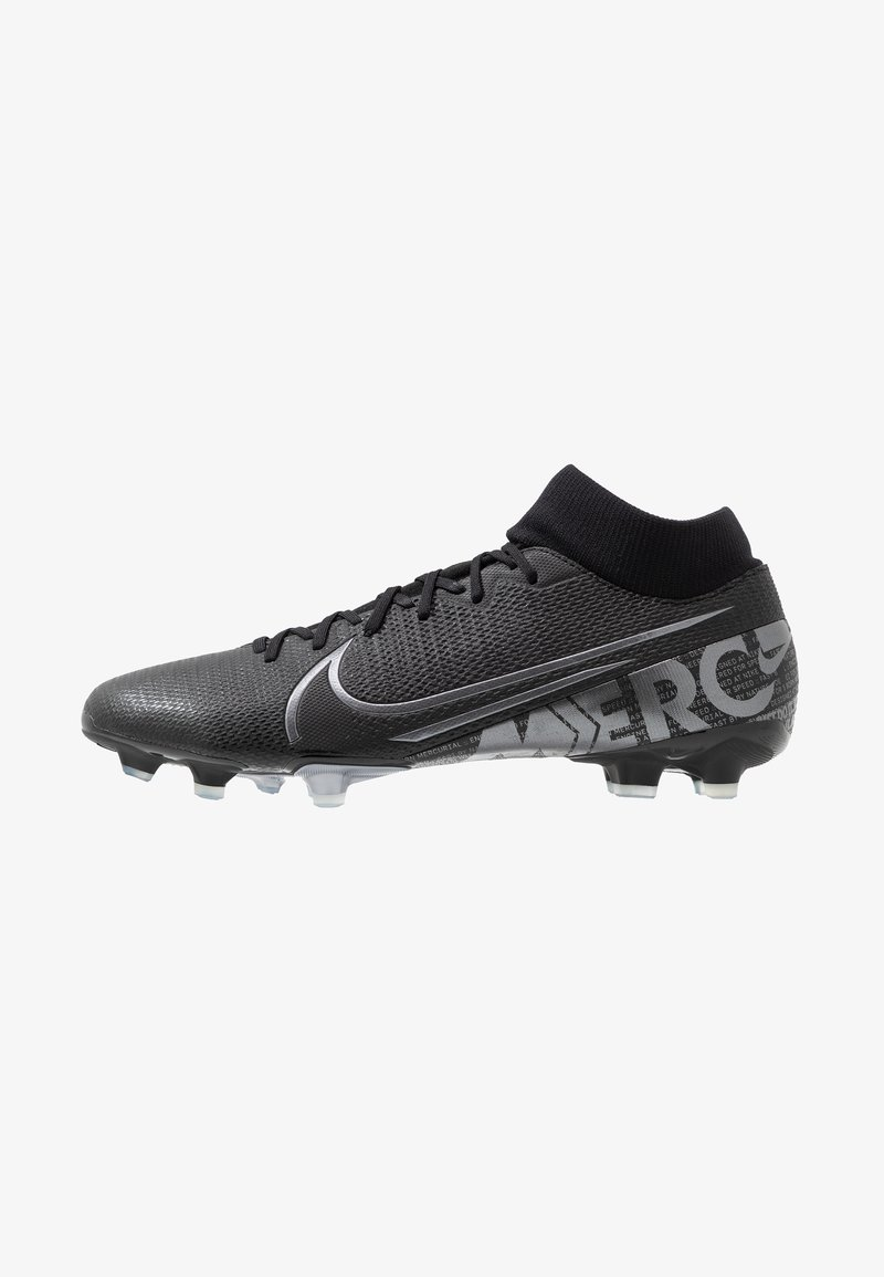 Nike Performance - MERCURIAL 7 ACADEMY FG/MG - Moulded stud football boots - black/metallic cool grey/blue fury/cool grey