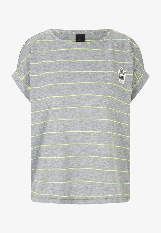 T-shirt imprimé - hellgrau/lime