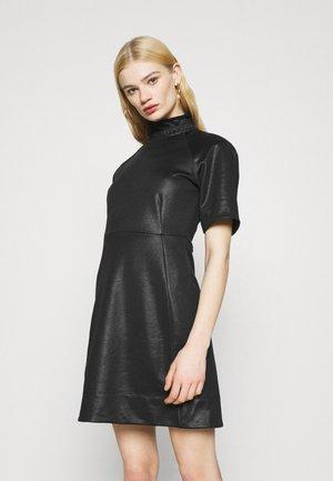 GLOSSY HIGH COLLAR DRESS - Day dress - dark black