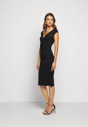 V NECK DRESS - Robe fourreau - black