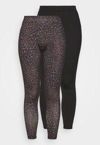 ONLSPORTY 2 PACK - Leggings - Trousers - black/tannin