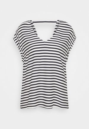 PRINTED V NECK  - Bluzka - navy/white
