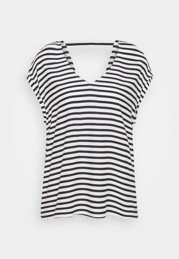 V NECK  - Print T-shirt - navy/white